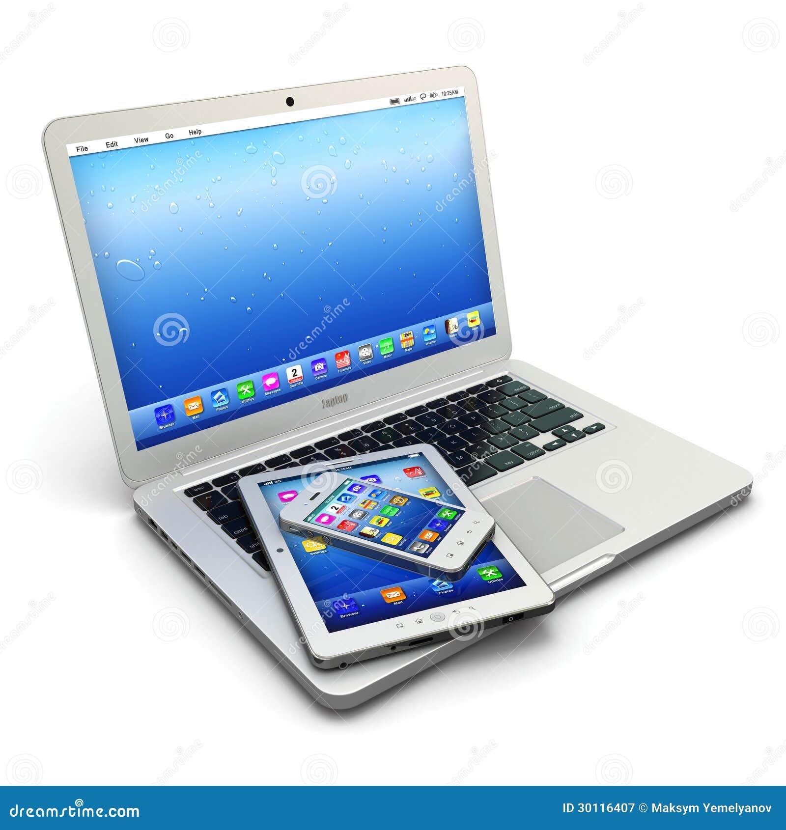 Ordenador portátil, teléfono móvil y PC digital de la tableta