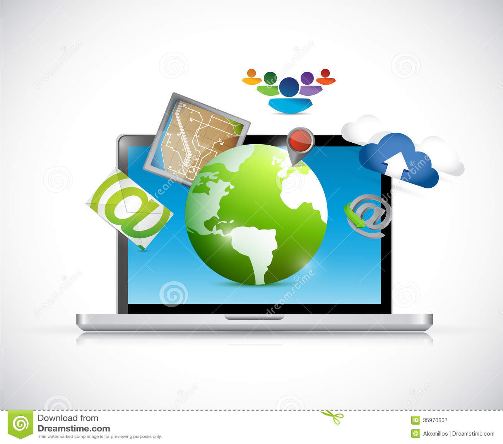 Ordenador portátil y sistema del diseño del ejemplo de los apps