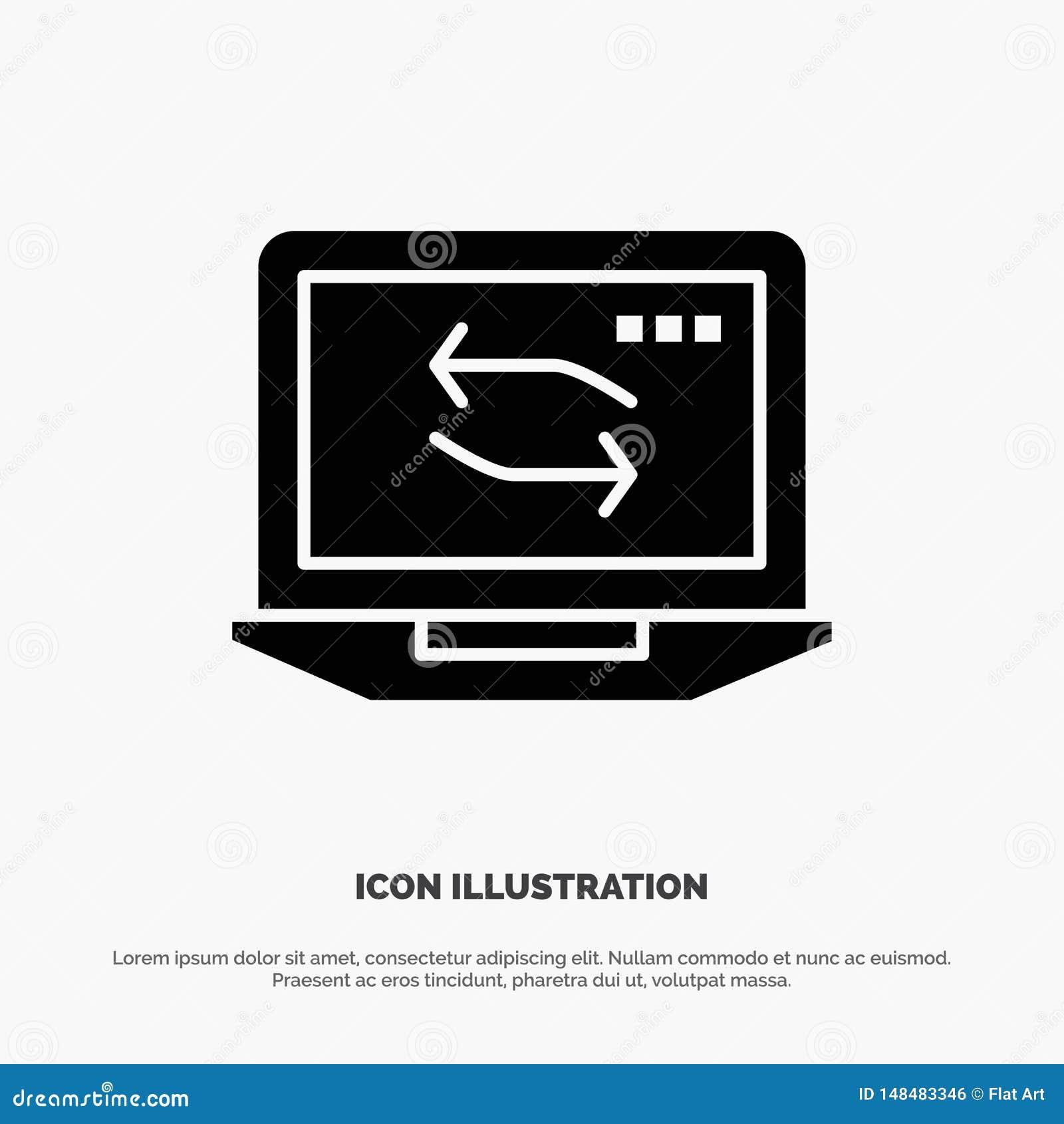 Ordenador, red, ordenador portátil, icono negro sólido del Glyph del hardware