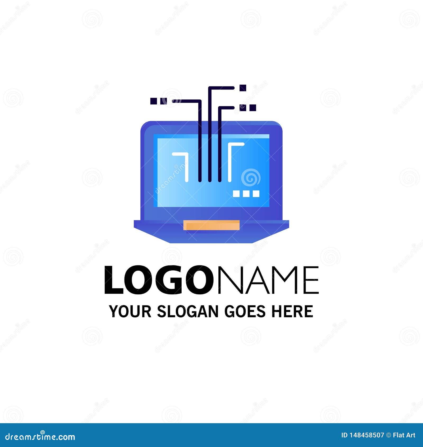 Ordenador, red, ordenador portátil, negocio Logo Template del hardware color plano