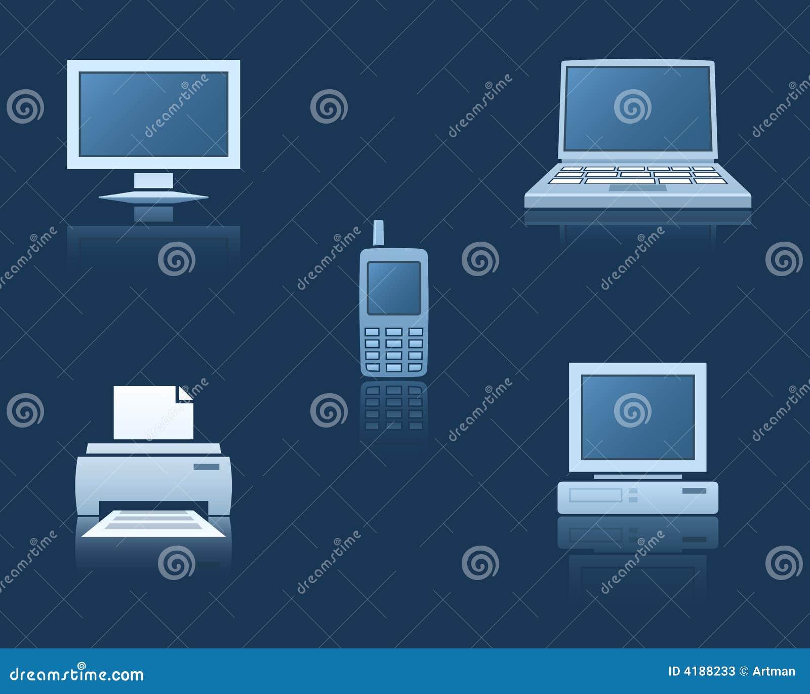 Ordenador, teléfono celular, impresora