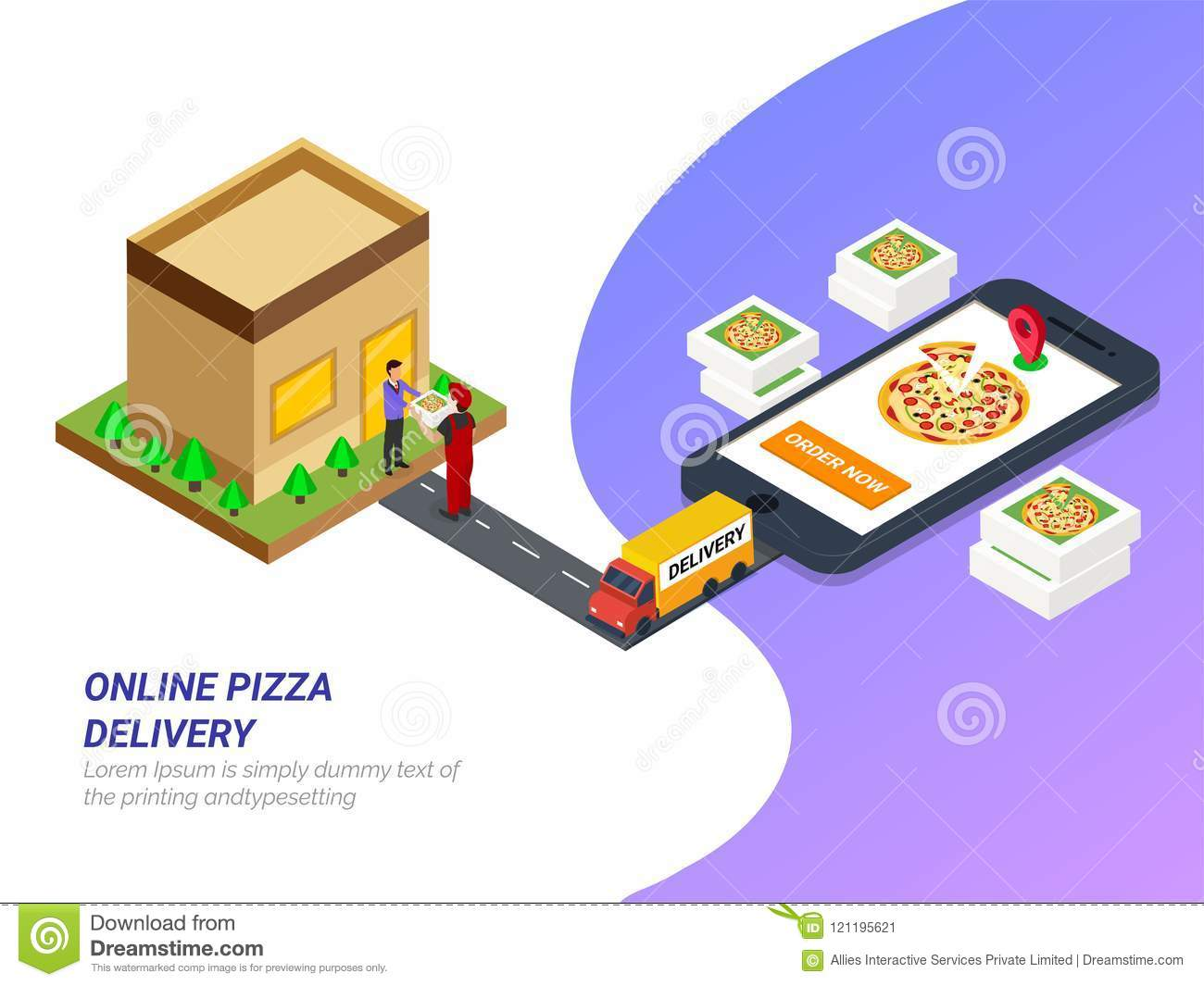 Order Food Online From App By Smartphone Fast Food Pizza Delivery