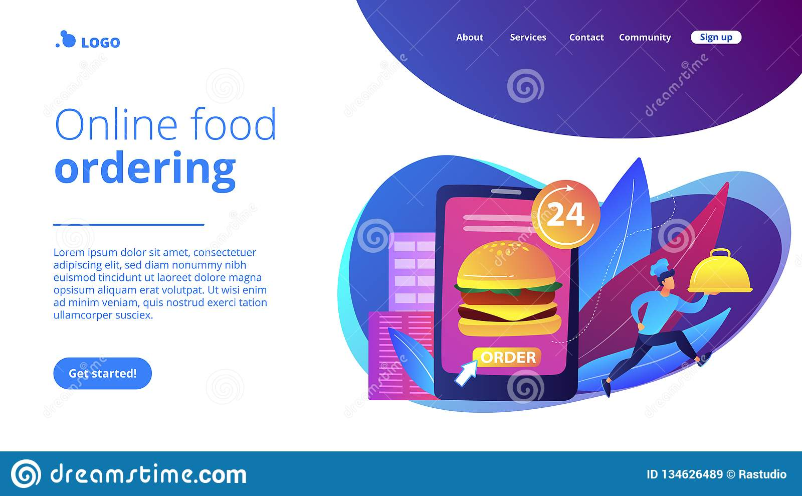 Food Delivery Service Concept Landing Page  Stock Vector