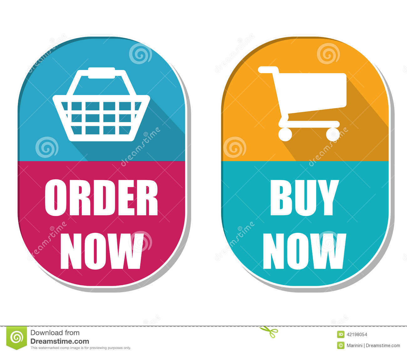 Buy This Now: Order Now And Buy Now With Shopping Basket And Cart Signs