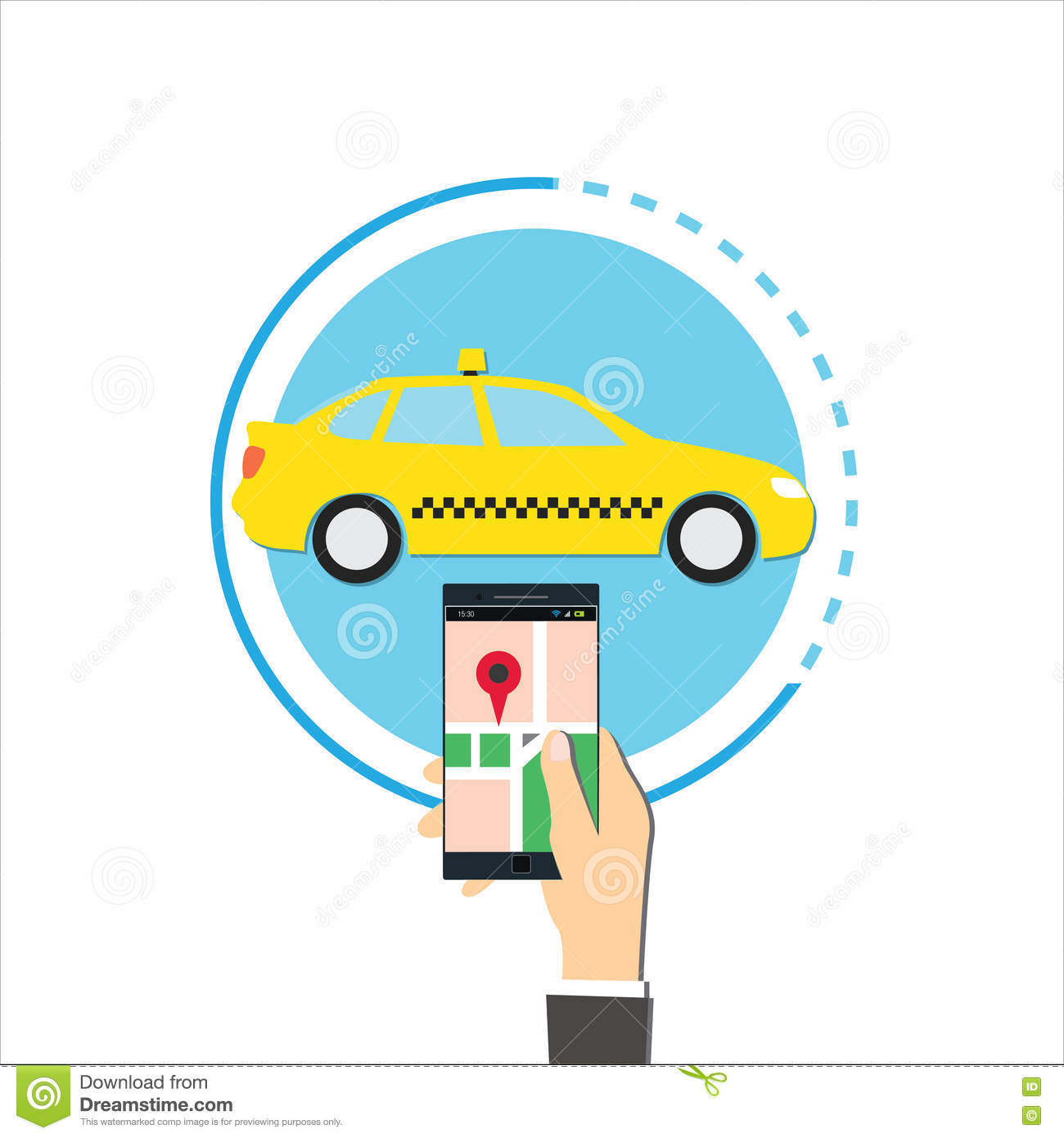 Order a taxi through the app on your phone vector illustration stock illustration - Order a cab ...
