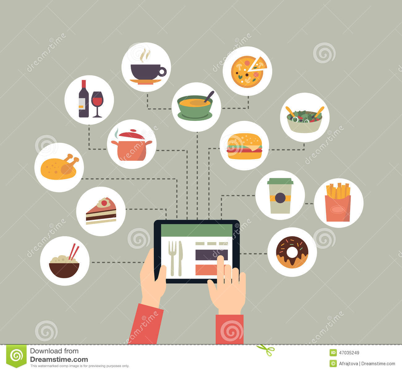 ... , searching for recipes or ordering food online. Flat design style: www.dreamstime.com/stock-illustration-ordering-food-online...