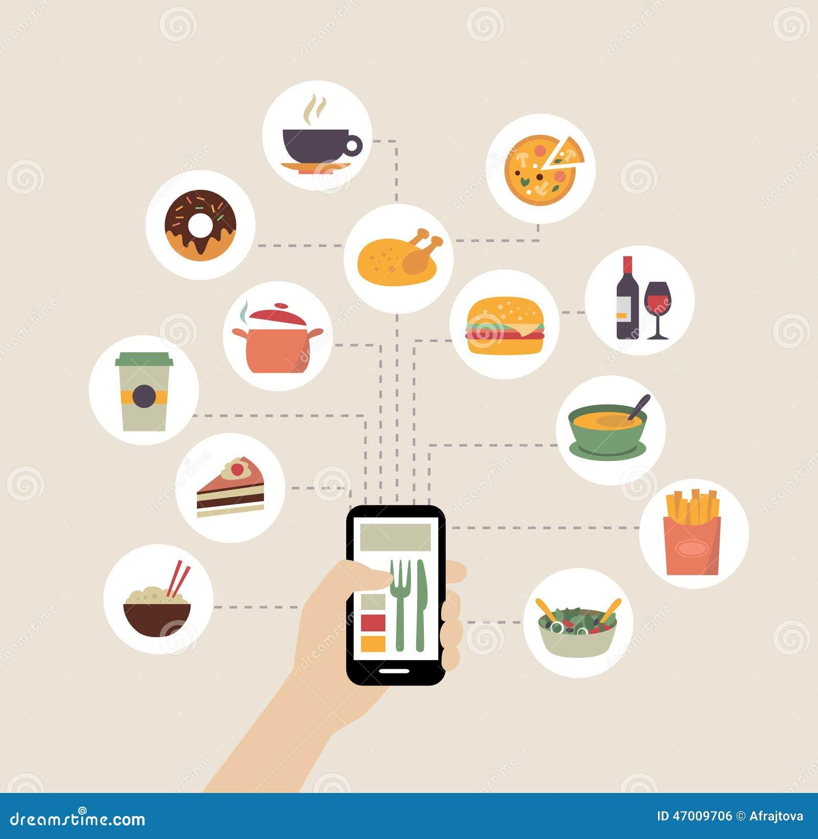 Ordering Food Online Or Food Blogging Stock Vector - Image ...