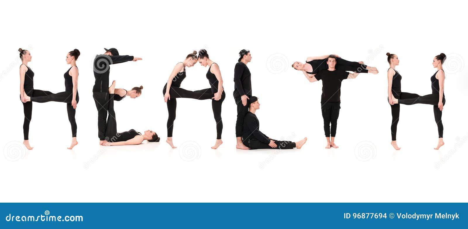 Ordet HÄLSA som bildas av gymnastkroppar