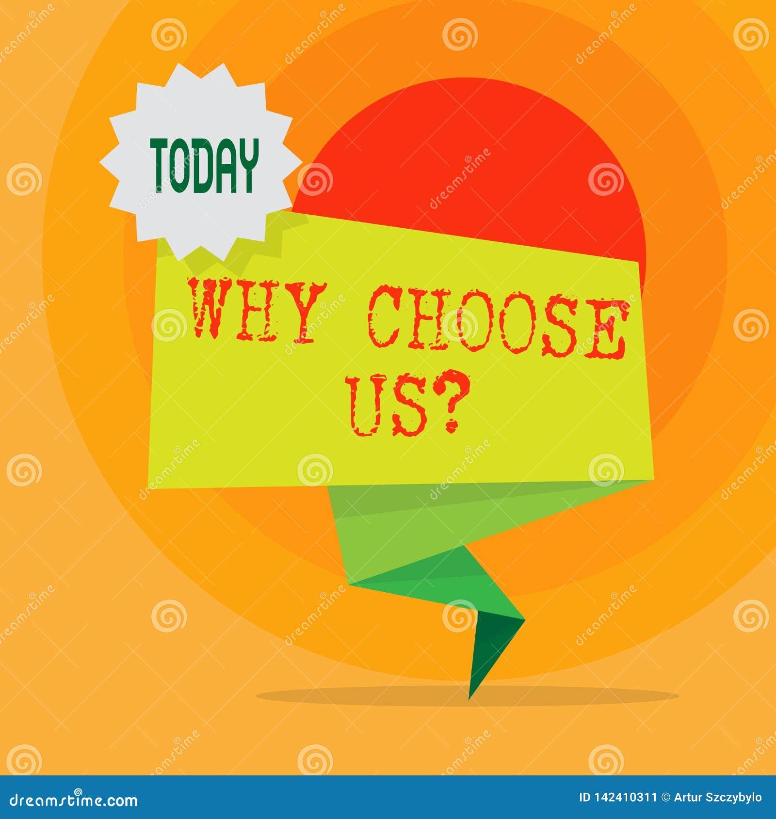 Ordhandstiltext därför välj oss frågan Affärsidé för lista av fördelar och nackdelar som väljer produkten