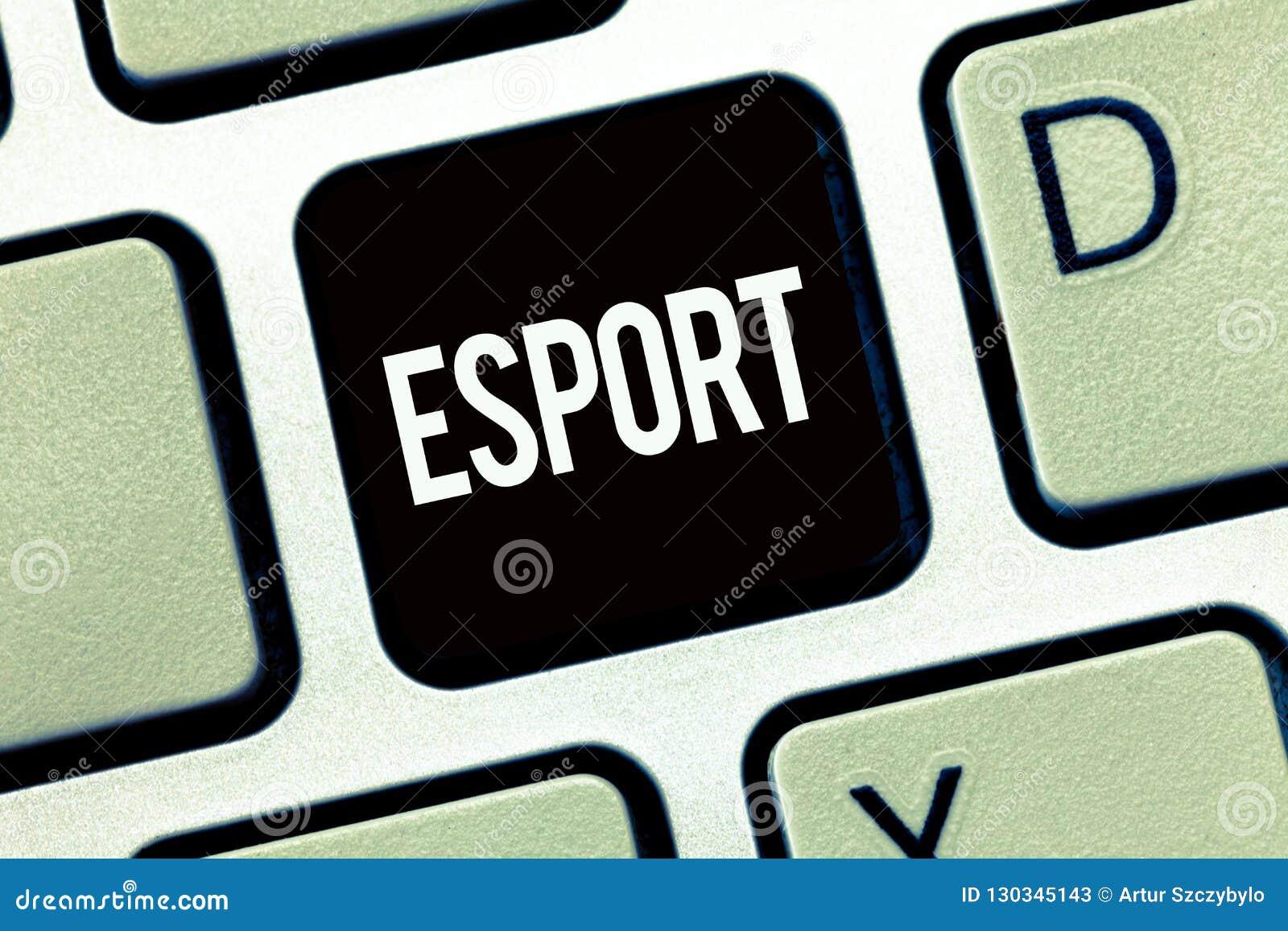 Ordhandstiltext Esport Affärsidéen för multiplayer videospel spelade konkurrenskraftigt för åskådare och gyckel