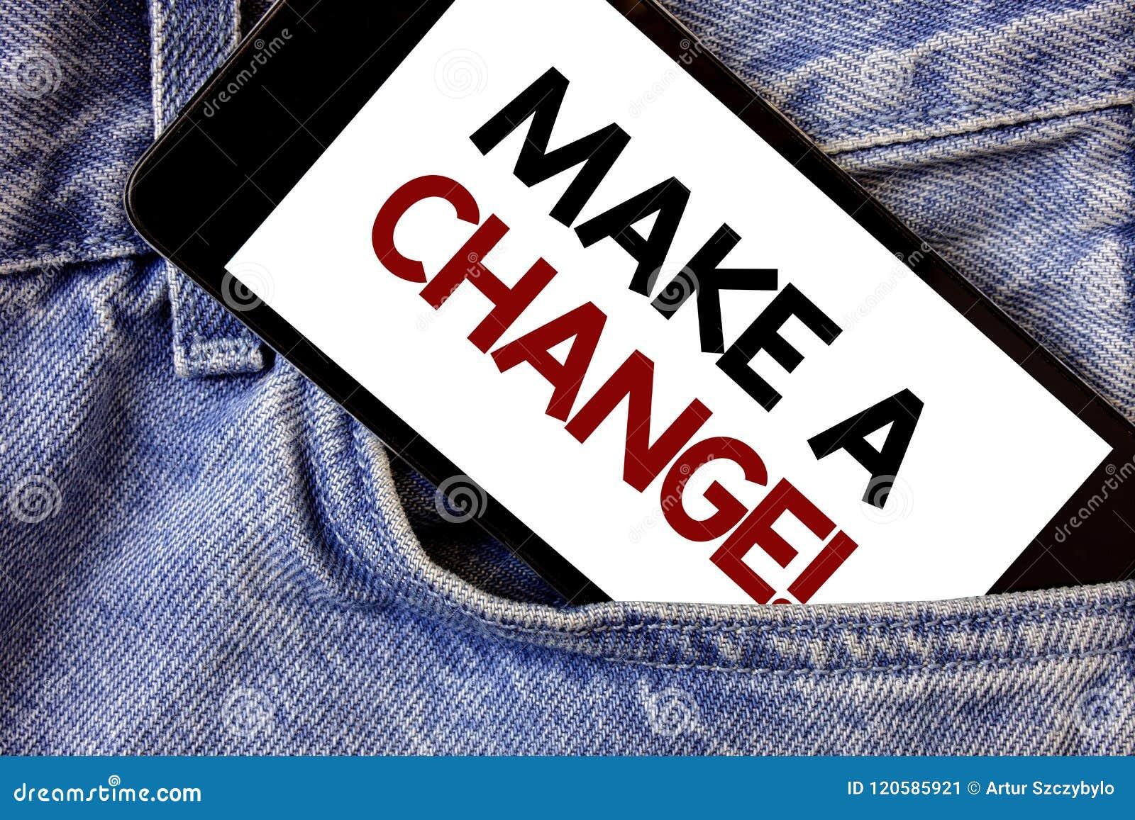 Ordhandstiltext gör en ändring Motivational appell Affärsidé för ord för text två för inställning för nya måltillfällen olika