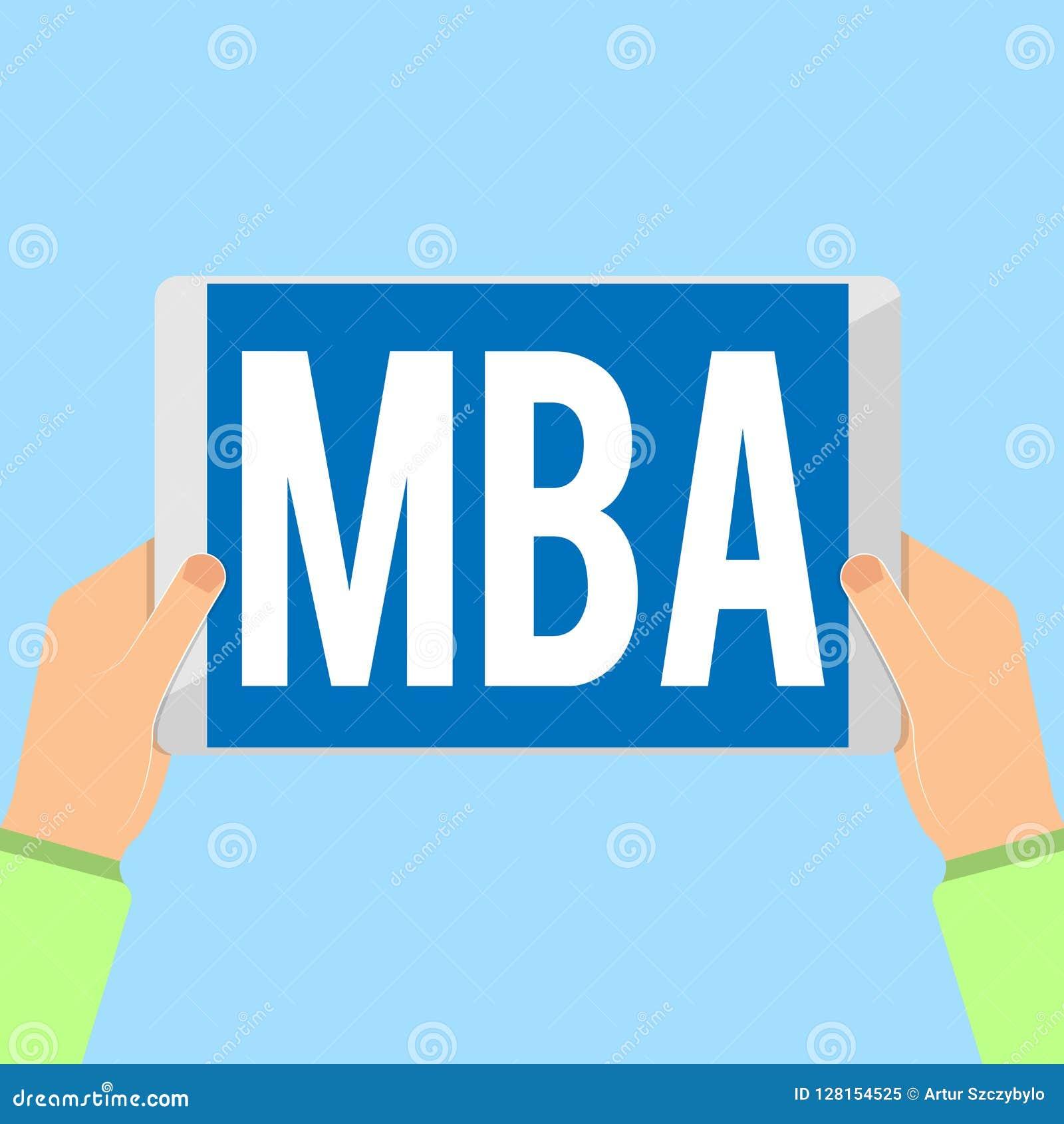 Ordhandstiltext Mba Affärsidé för avancerad grad i affärsfält liksom administration och marknadsföring
