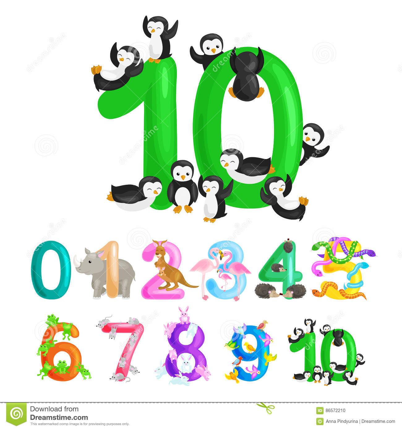 Ordinal Number 10 For Teaching Children Counting Ten Penguins With ...