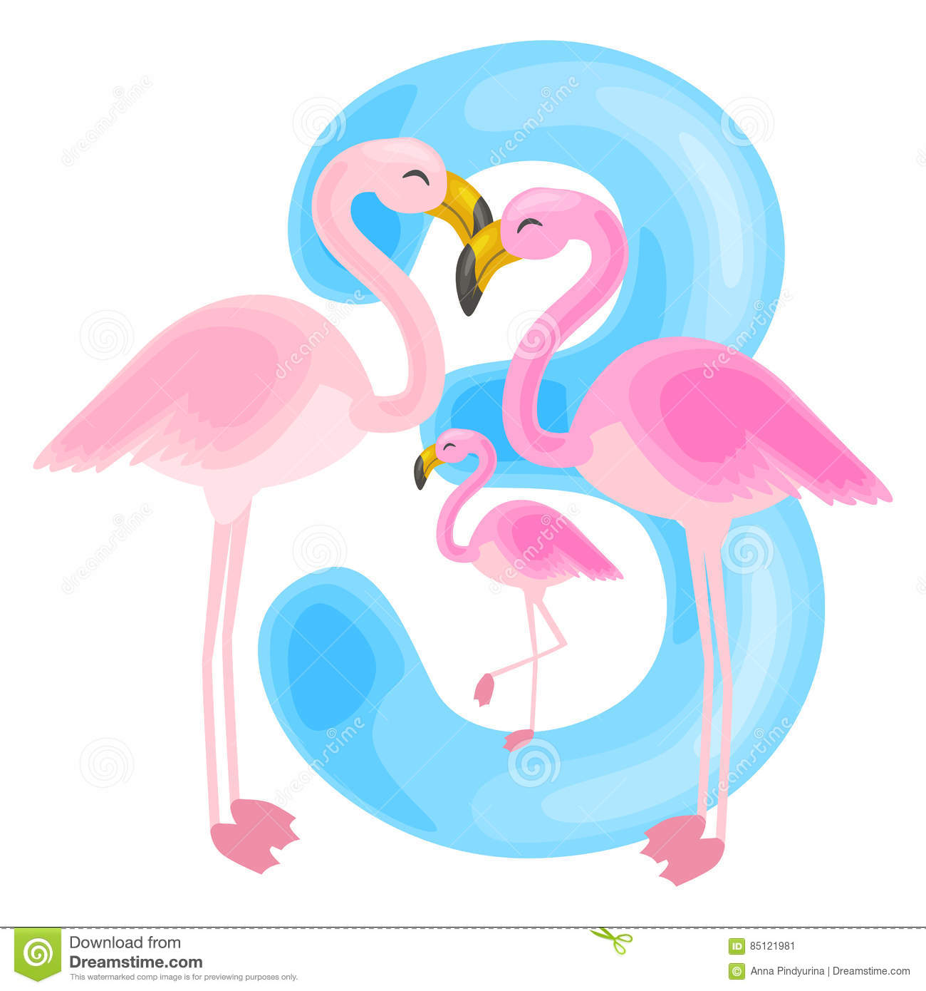 Ordinal Number 3 For Teaching Children Counting Three Flamingos With ...