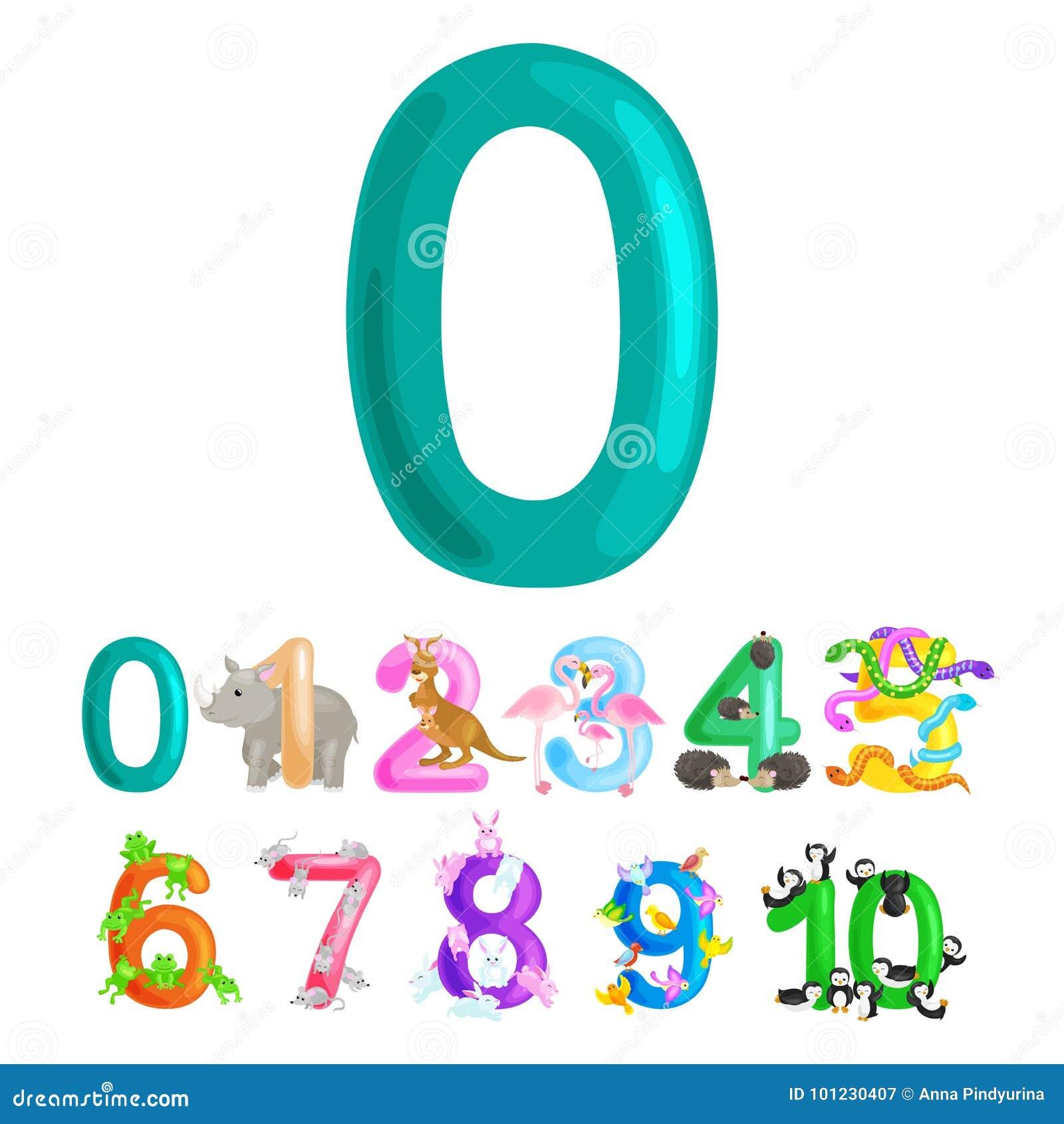 Ordinal Numbers 0 For Teaching Children Counting Zero Birdies Stock ...