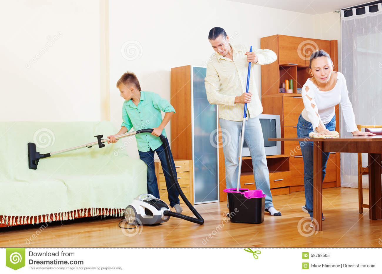 Ordinary family doing house cleaning stock image image - One time interior house cleaning ...