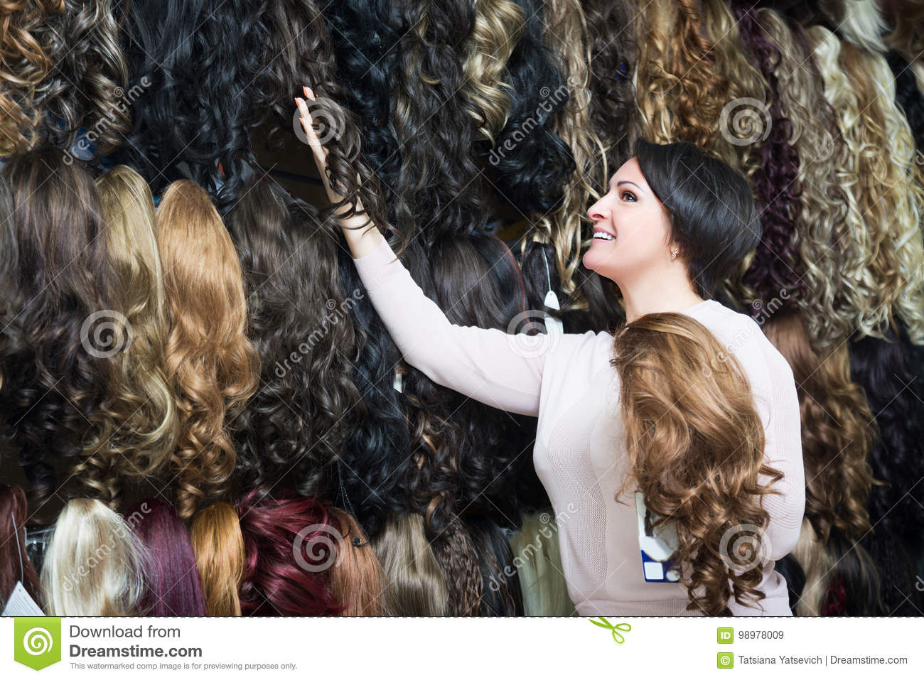 Woman Selling Different Color Hair Extensions Stock Image Image Of