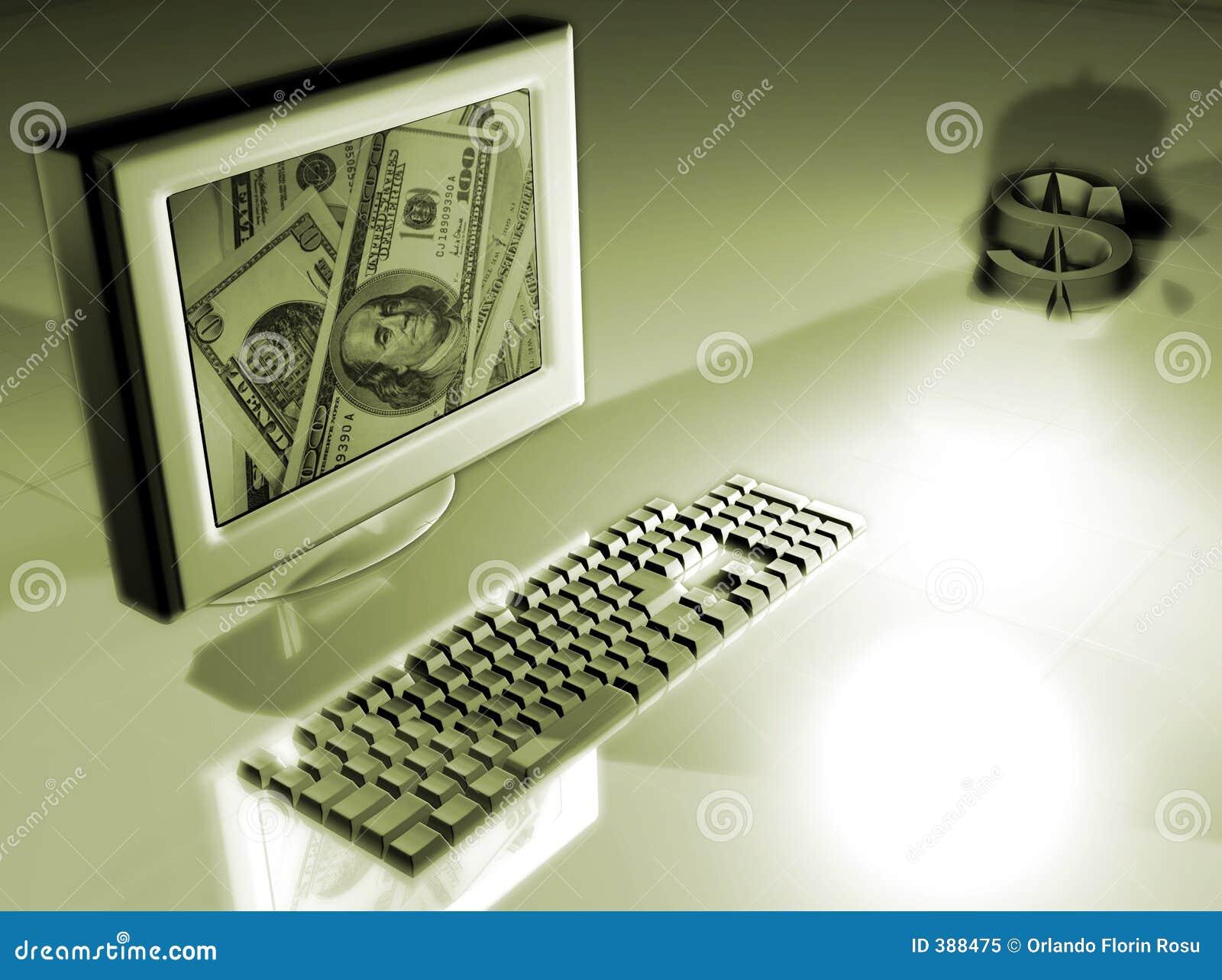 Ordinateur avec le concept d argent