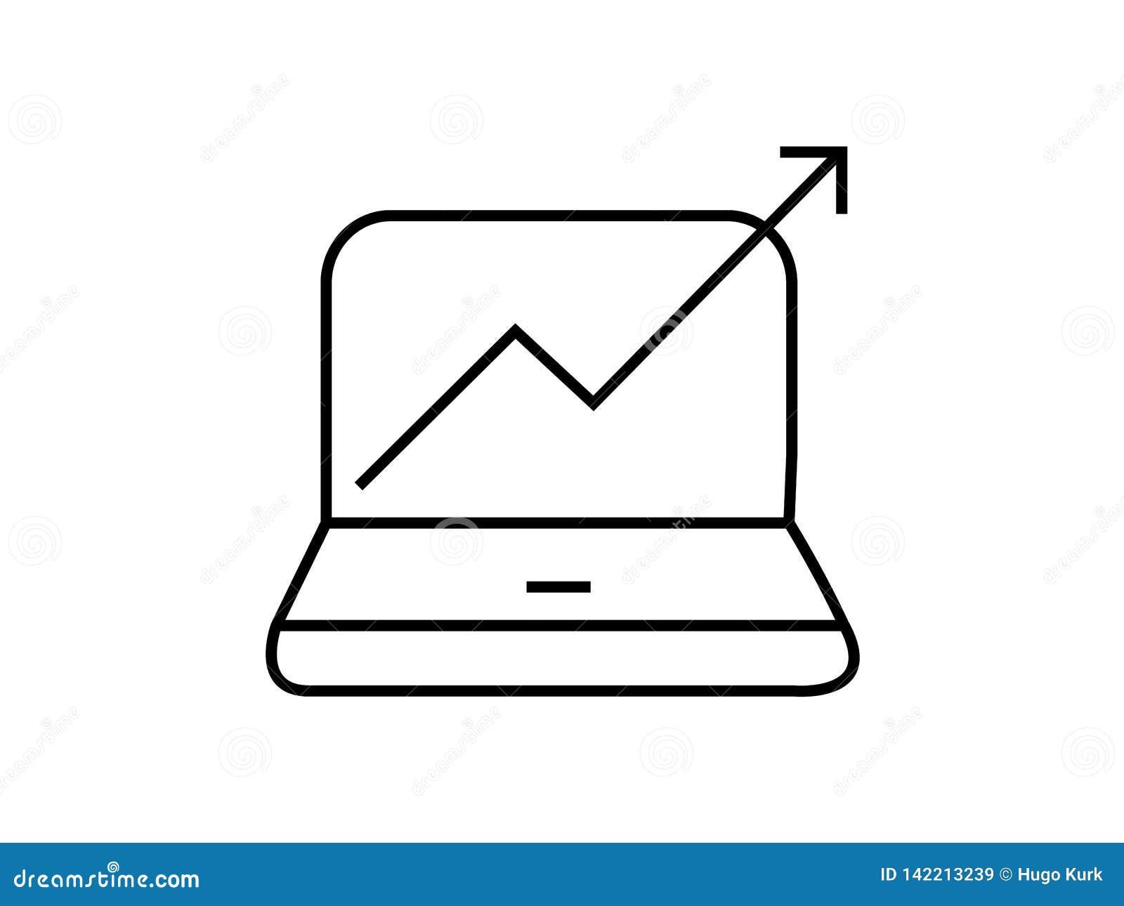 Ordinateur avec le symbole en hausse de graphique