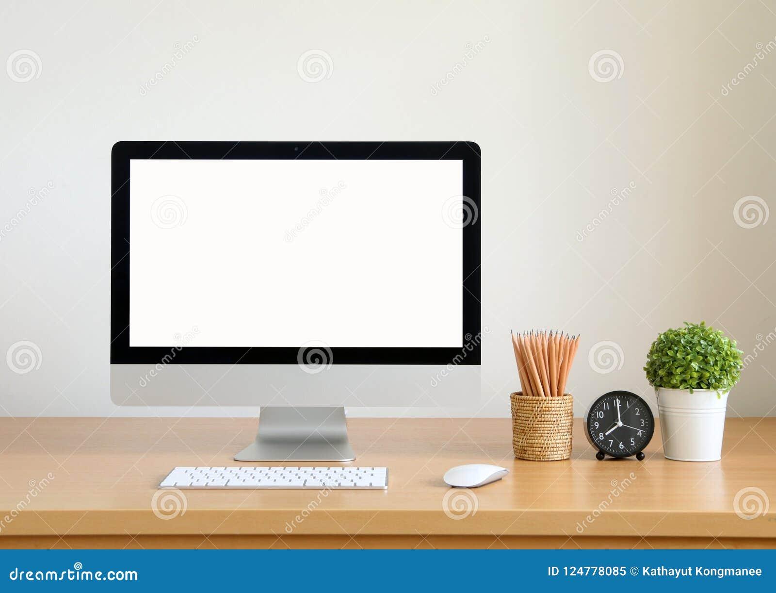 Ordinateur décran vide pc de bureau pour des affaires image stock