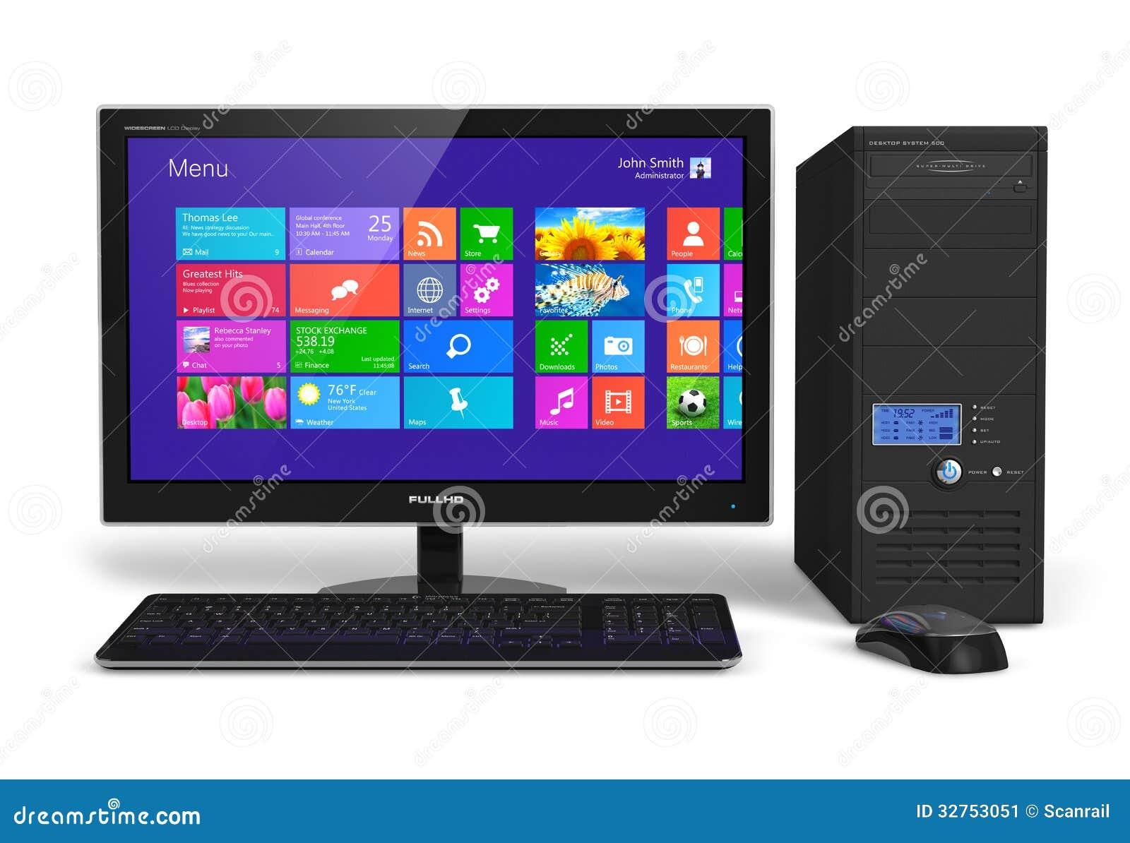 ordinateur de bureau avec l 39 interface d 39 cran tactile. Black Bedroom Furniture Sets. Home Design Ideas