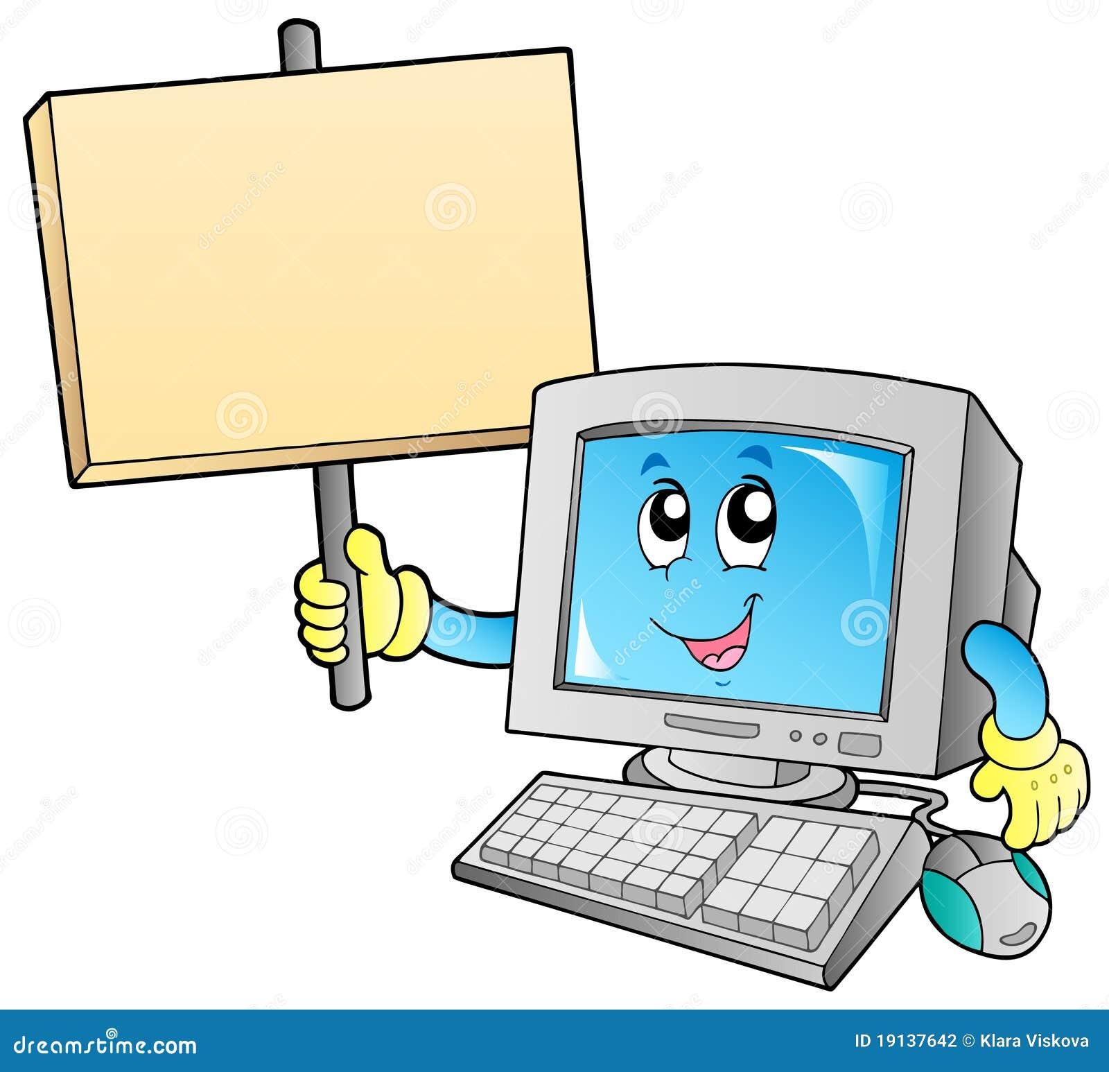 ordinateur de bureau avec le panneau blanc illustration de. Black Bedroom Furniture Sets. Home Design Ideas