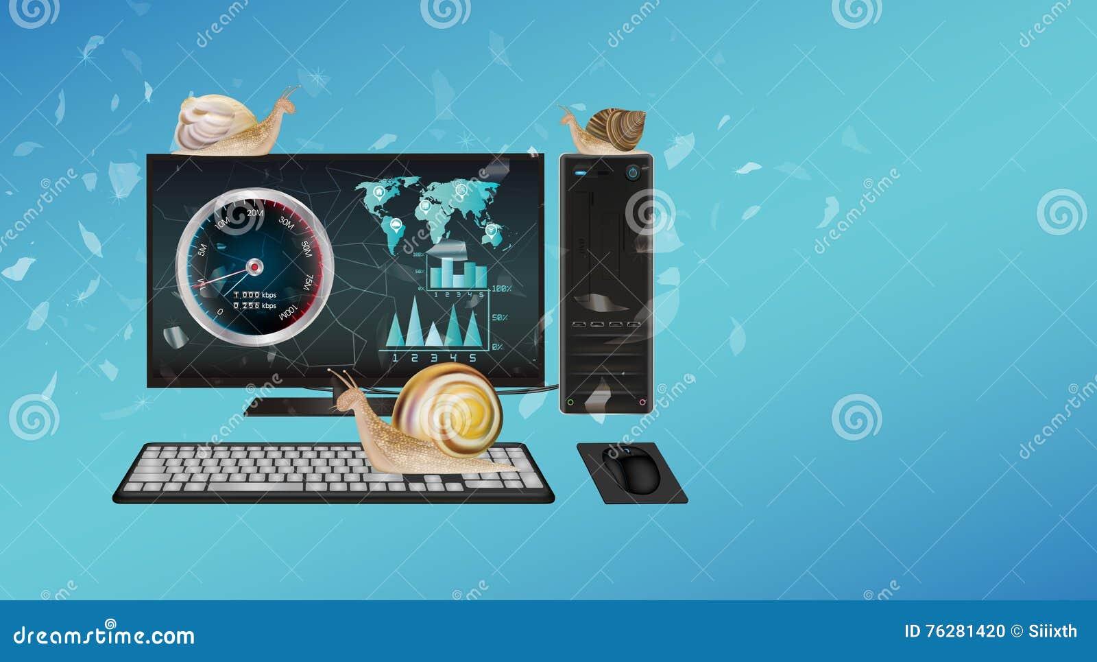Ordinateur de bureau lent avec l escargot illustration de vecteur