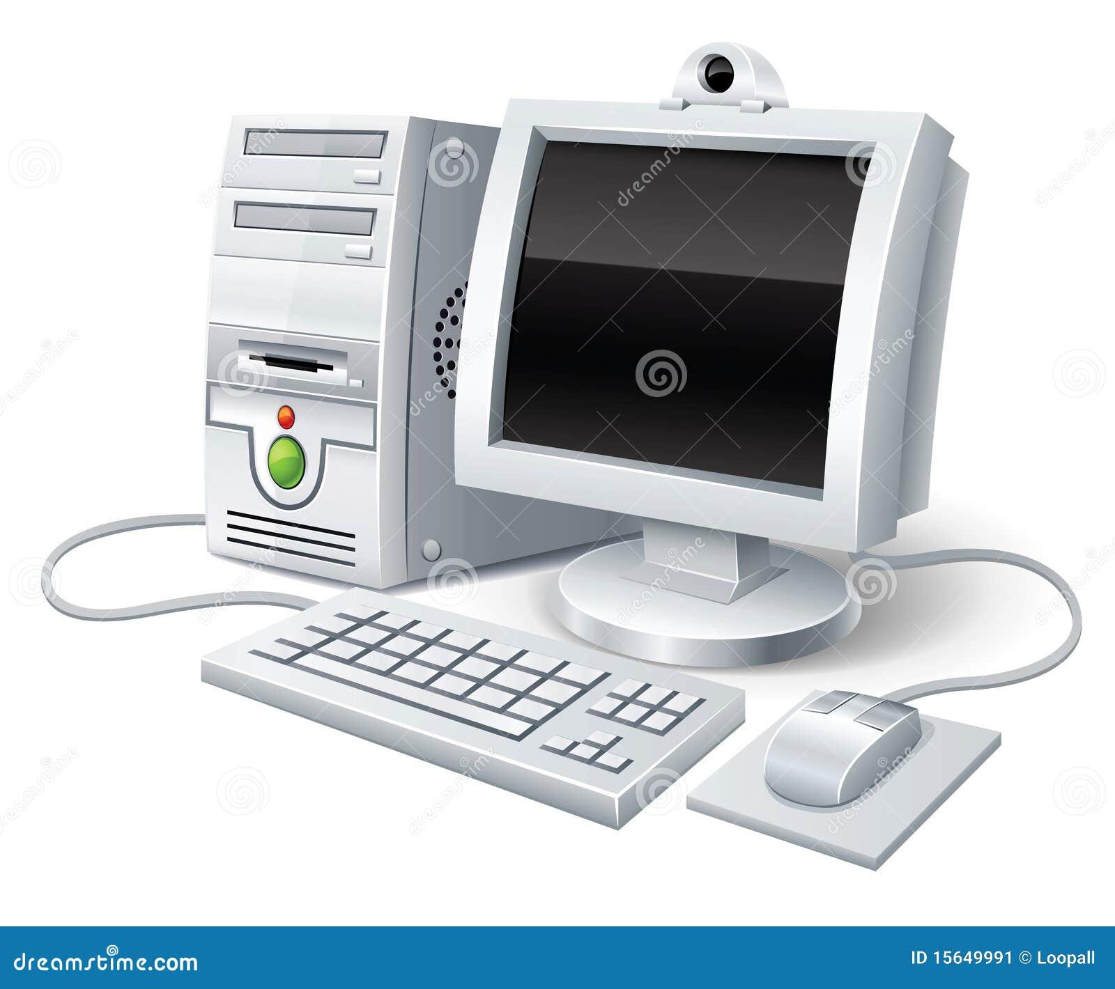 ordinateur de pc avec le clavier et la souris de moniteur image stock image 15649991. Black Bedroom Furniture Sets. Home Design Ideas