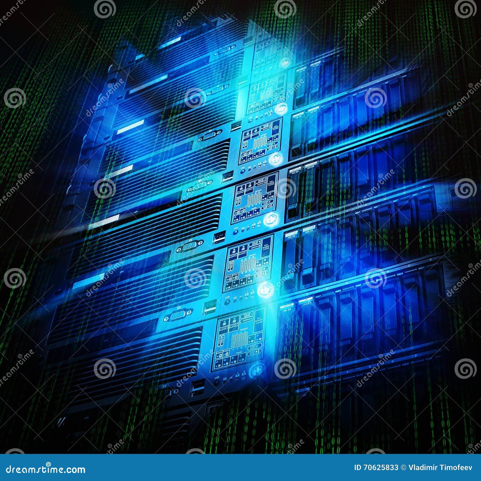Ordinateur géant de stockage de lame de centre de traitement des données avec l éclaboussure et le code binaire