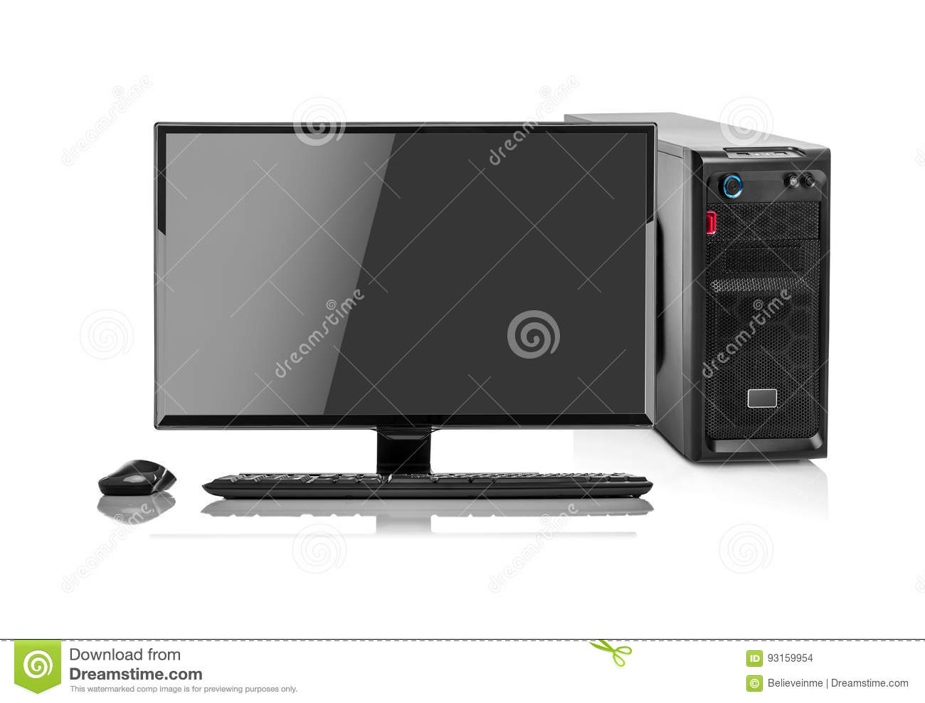 Ordinateur moderne de pc de bureau disolement photo stock image