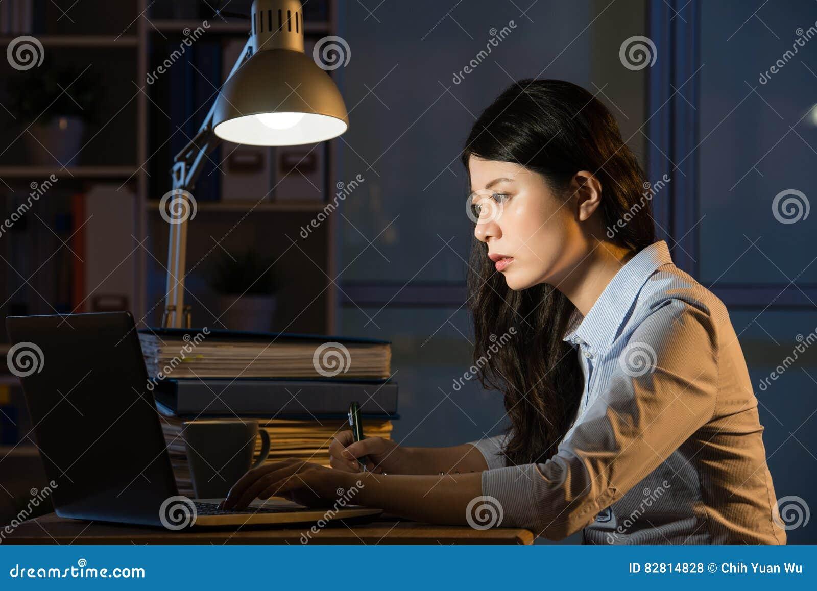 Ordinateur portable asiatique d utilisation de femme d affaires fonctionnant des heures supplémentaires de fin de nuit
