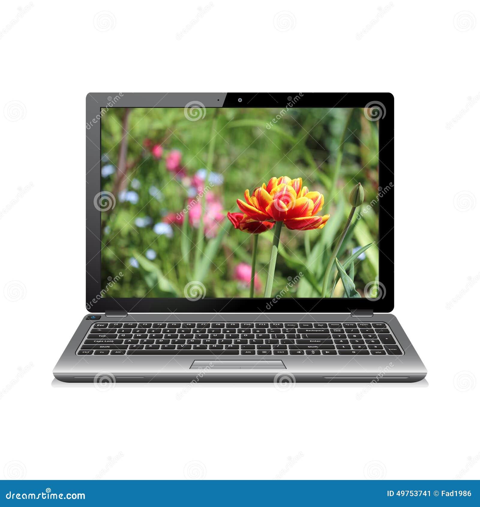 Ordinateur portable avec des fleurs sur l 39 cran photo for Ecran ordinateur photo