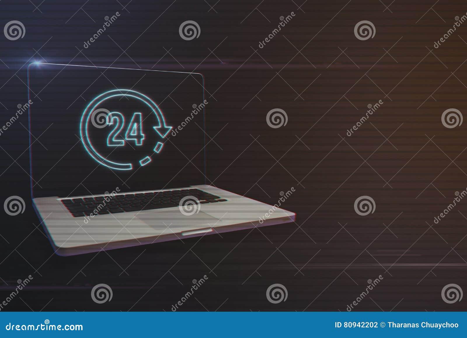 Ordinateur portable avec 24 heures d icône
