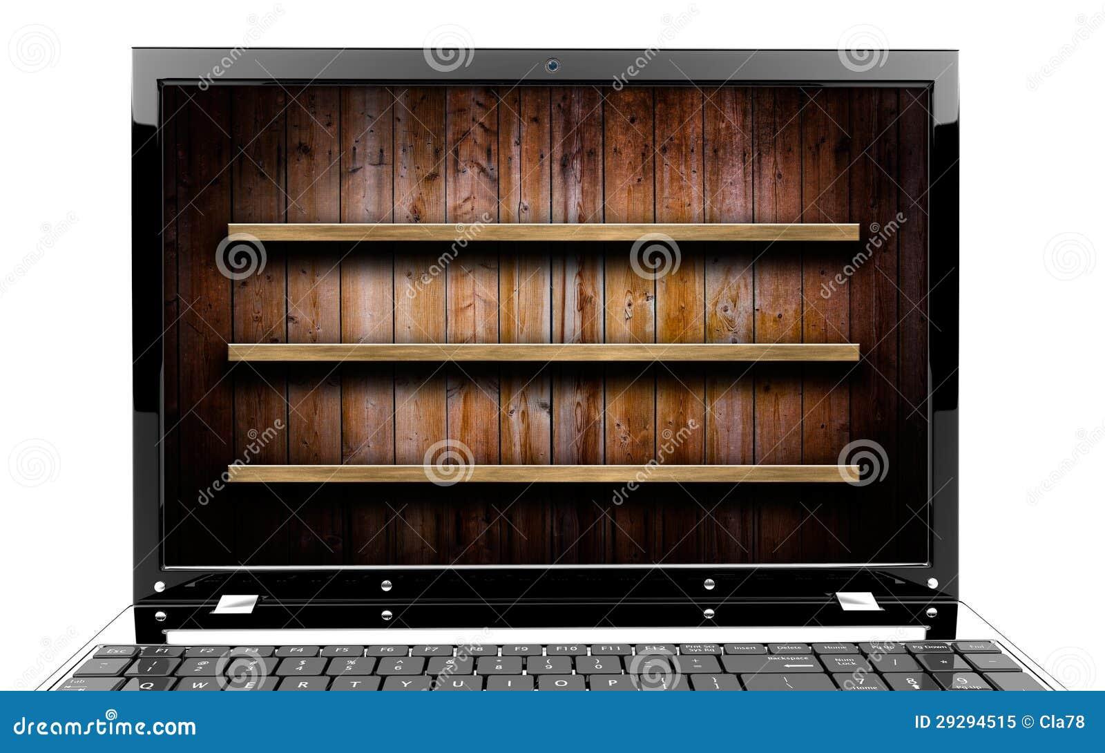 ordinateur portable avec l 39 tag re photo libre de droits image 29294515. Black Bedroom Furniture Sets. Home Design Ideas