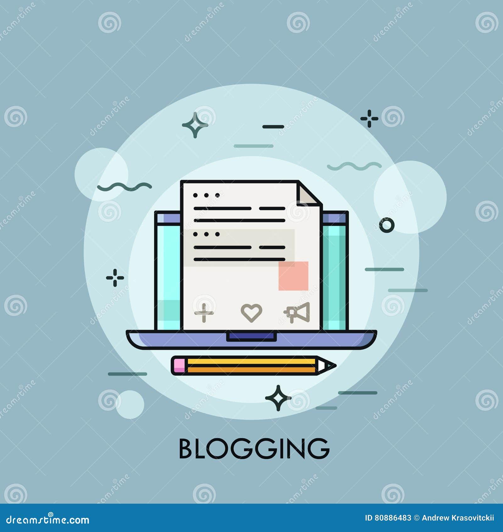 Ordinateur portable avec le blog d Internet sur l écran, création satisfaite de site Web