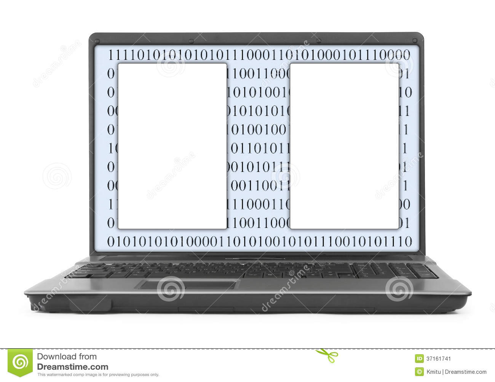 Ordinateur portable avec le code binaire abstrait et l espace vide