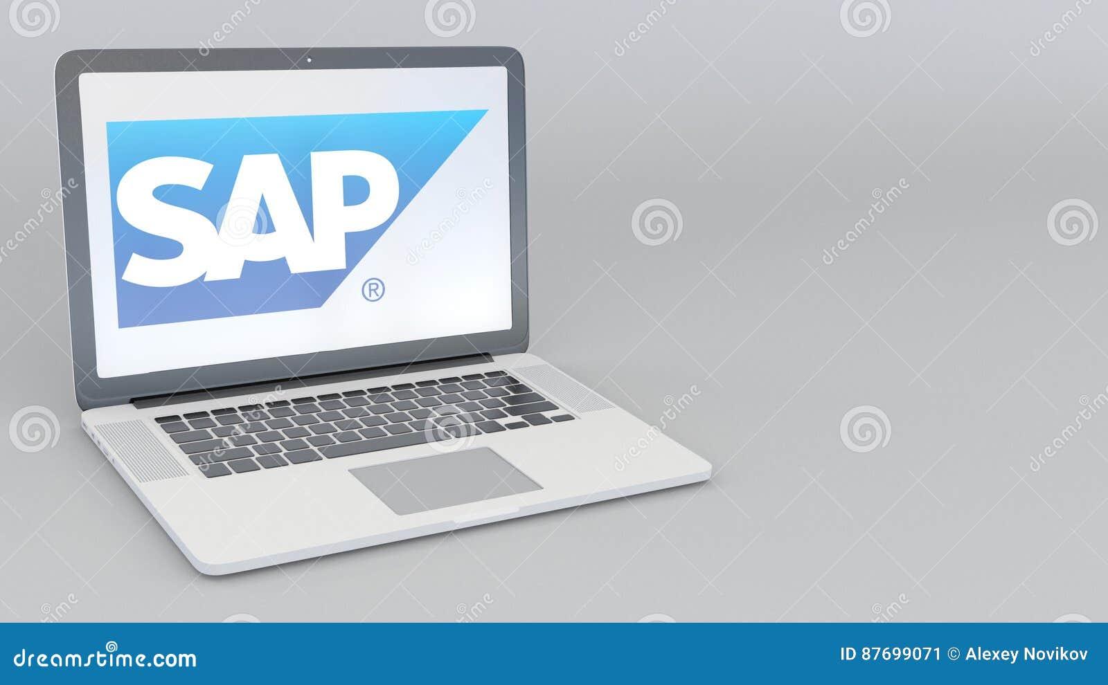 ordinateur portable avec le logo de se de sap rendu conceptuel de l u0026 39  u00e9ditorial 3d d u0026 39 informatique