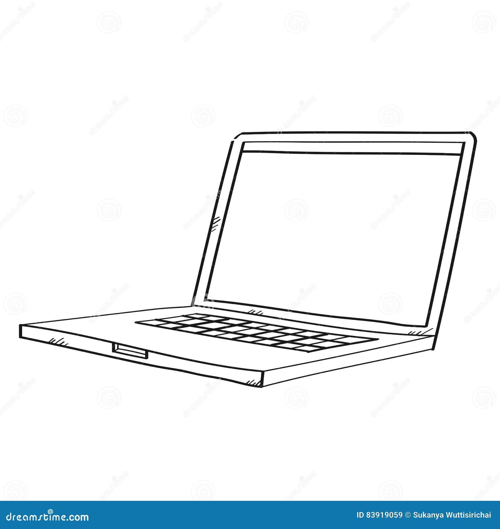 ordinateur portable d 39 illustration de dessin de dessin. Black Bedroom Furniture Sets. Home Design Ideas