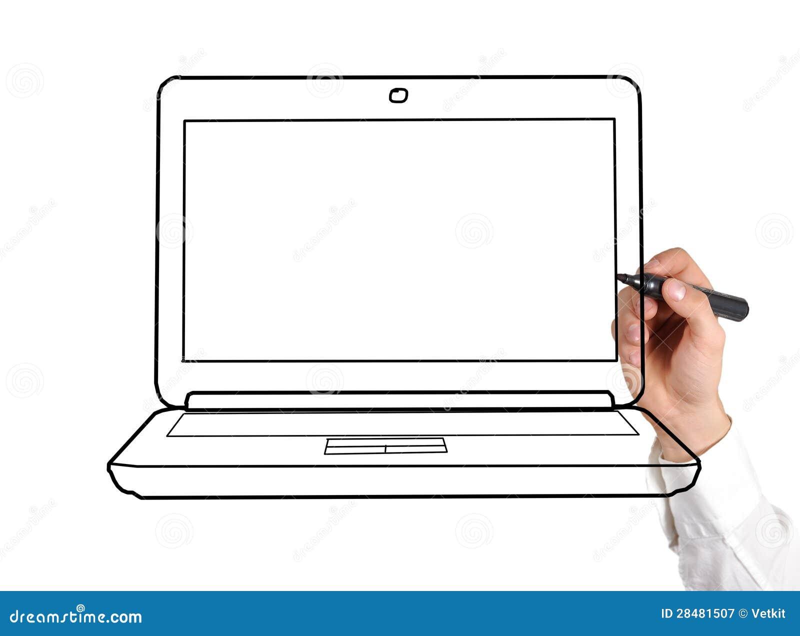 Ordinateur Portable De Dessin Photographie Stock Libre De