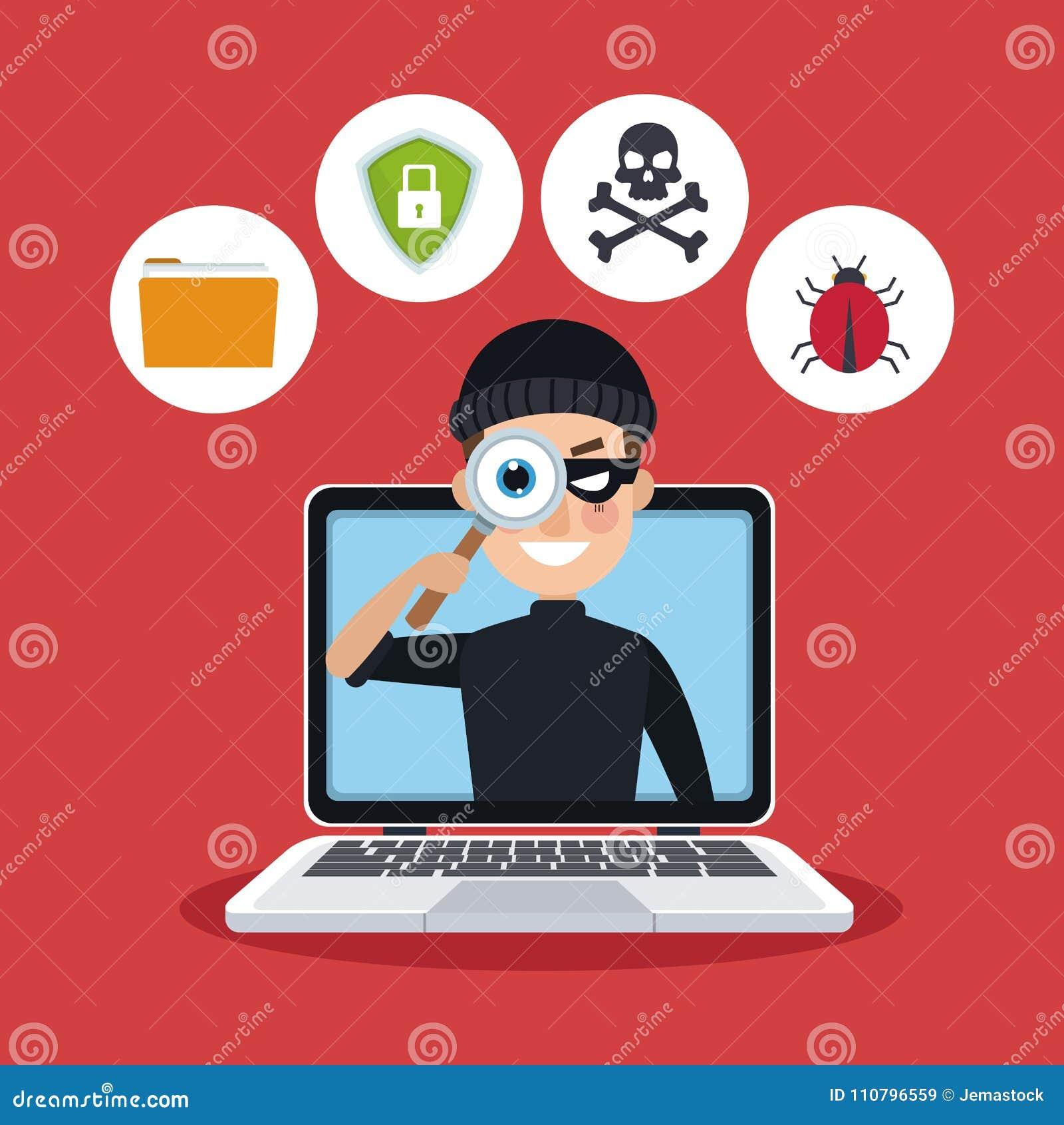 Ordinateur portable de fond de couleur rouge avec l espionnage avec le pirate informatique