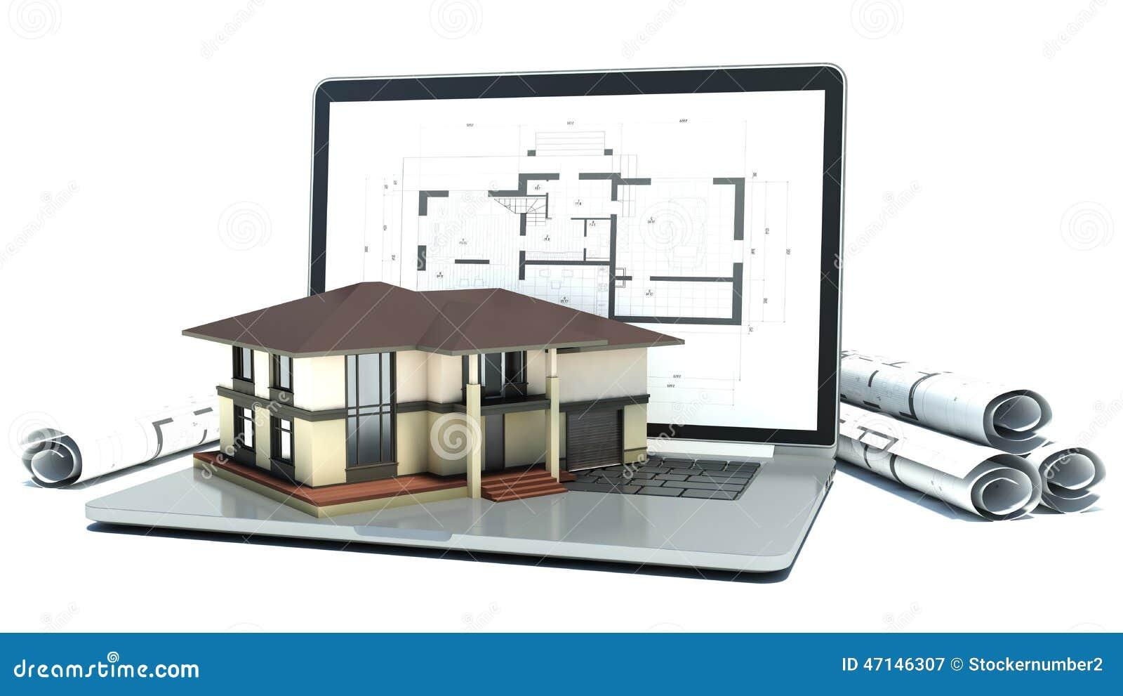 Ordinateur Portable Et Dessins Avec Le Projet De Maison 3d