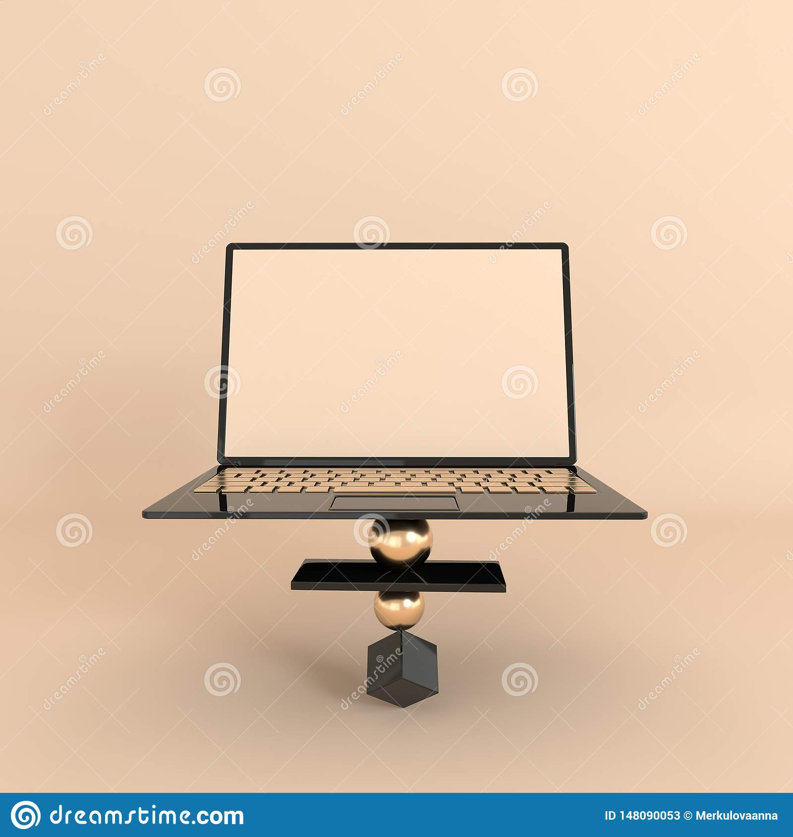 Ordinateur portable et fond géométrique différent de maquette d objets dans le style minimal moderne Le carnet 3d rendent dans de