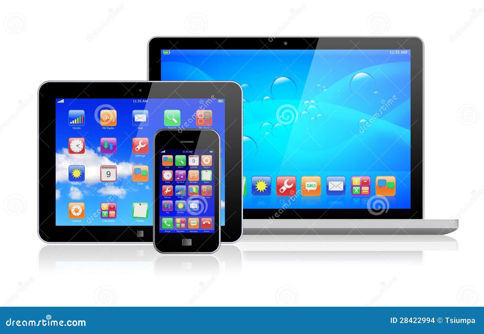 ordinateur portable pc de tablette et smartphone images. Black Bedroom Furniture Sets. Home Design Ideas