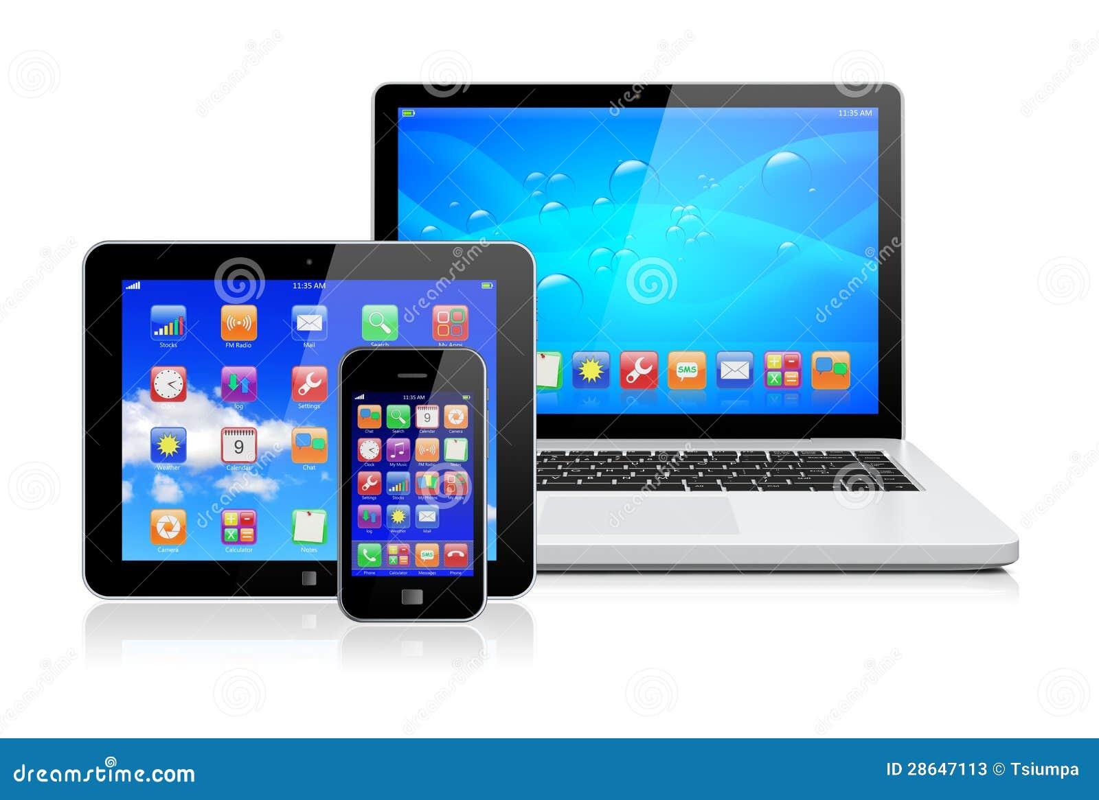 ordinateur portable pc de tablette et smartphone. Black Bedroom Furniture Sets. Home Design Ideas