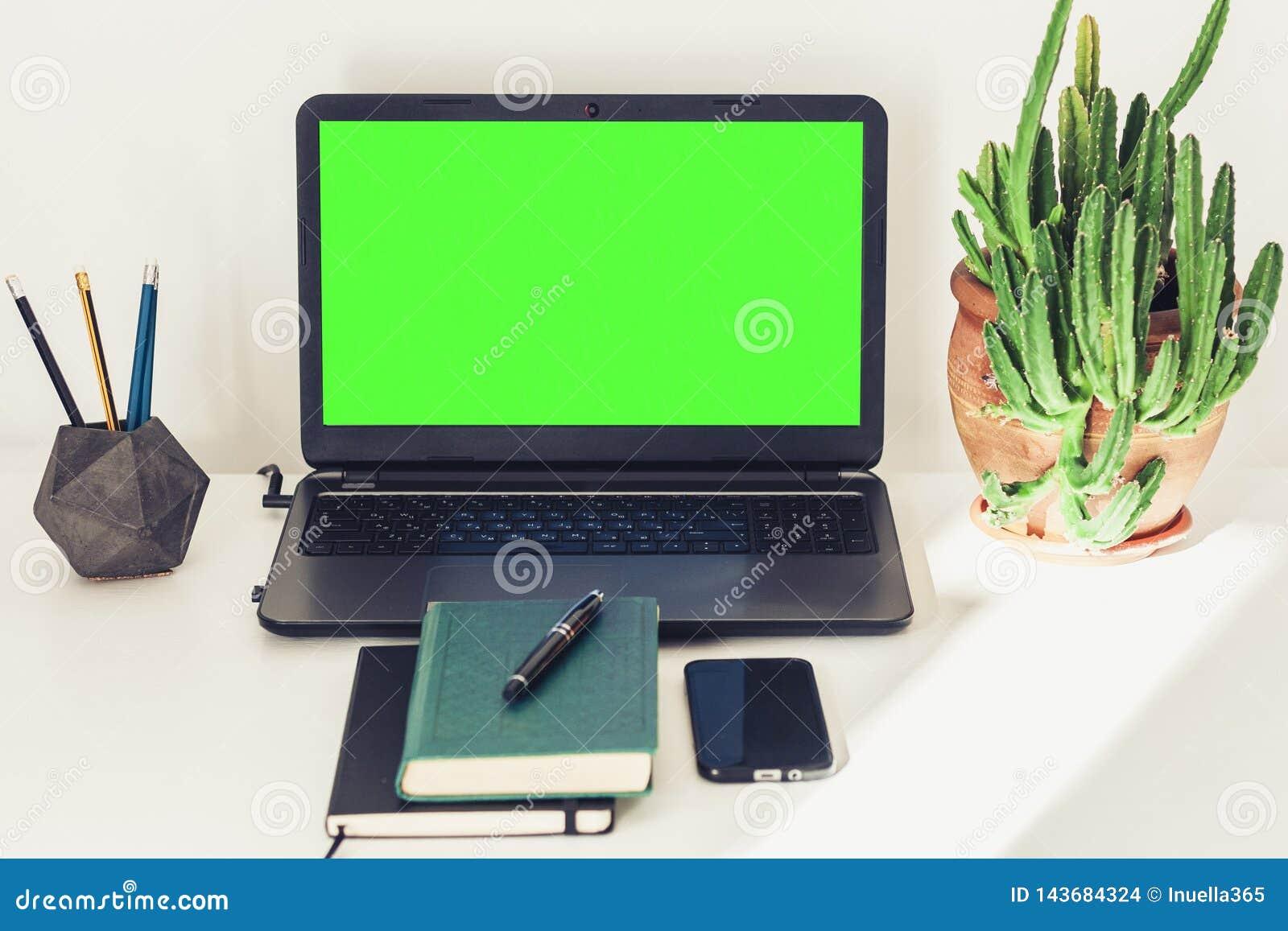 Ordinateur portable vert d ?cran, usine de cactus dans le pot d argile, livre, carnet, smartphone et crayons sur la table blanche