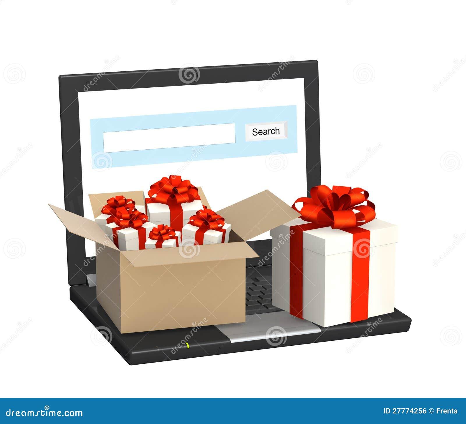 Ordinateur portatif et beaucoup de cadeaux