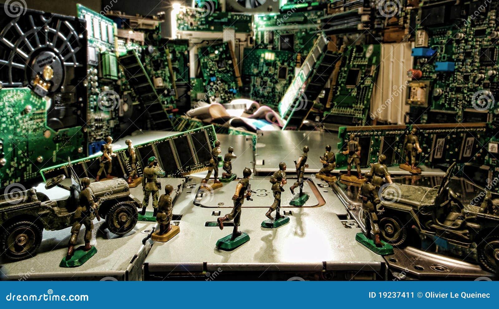 Ordinateur sous l attaque de Cyber par des soldats de jouet