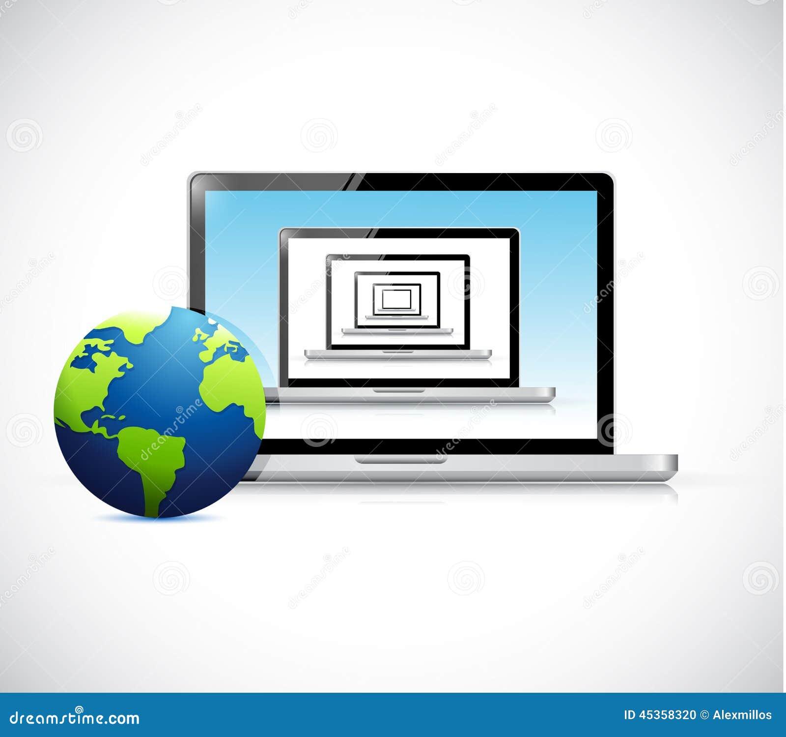 Ordinateurs portables réglés et globe Conception d illustration