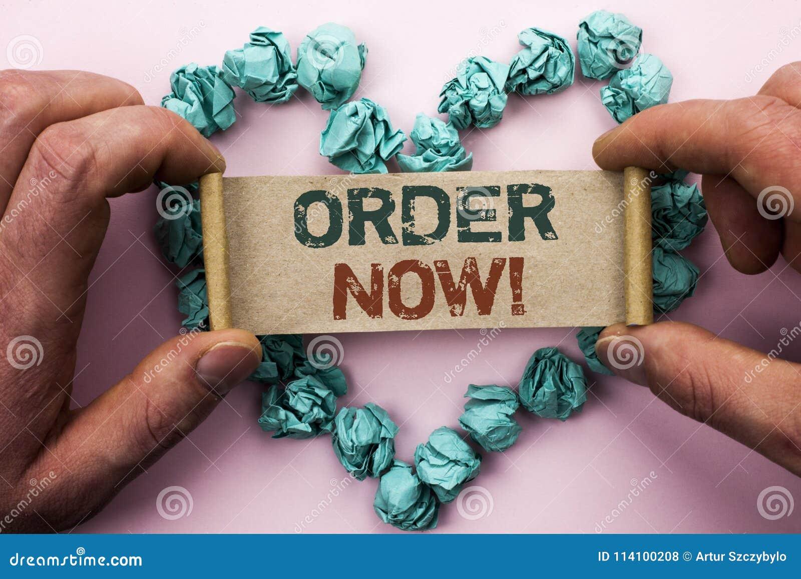 Ordine del testo di scrittura di parola ora Concetto di affari per il registro del prodotto del negozio di promozione di vendita