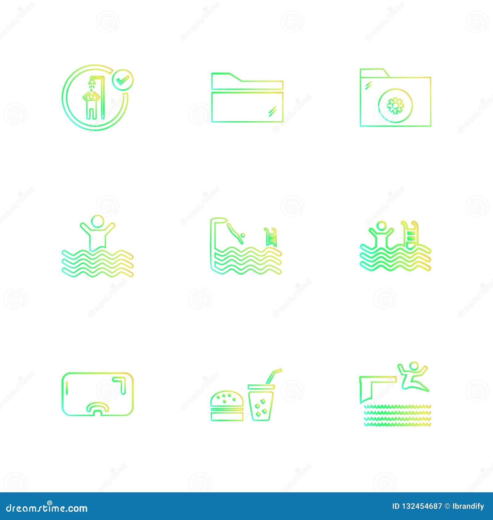 Ordner, Dateien, Sommer, Strand, Picknick, Getränke, ENV-Ikonen eingestellt